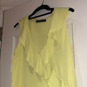 Zara Tops - Zara yellow ruffle top